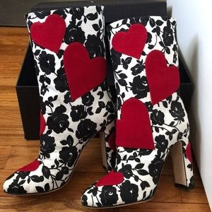 Dolce & Gabbana Black White Red Heart Booties